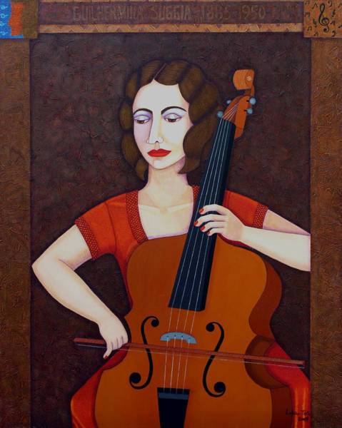 Cellist Painting - Guilhermina Suggia - Woman Cellist Of Fire by Madalena Lobao-Tello
