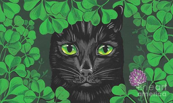 Lucky Clover Painting - Guinevere The Green Eyed Cat by Margaryta Yermolayeva