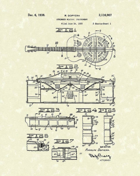 Drawing - Guitar 1938 Patent Art by Prior Art Design