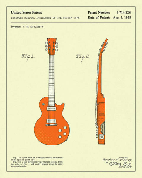 Vintage Patent Wall Art - Digital Art - Guitar 1955 by Jazzberry Blue