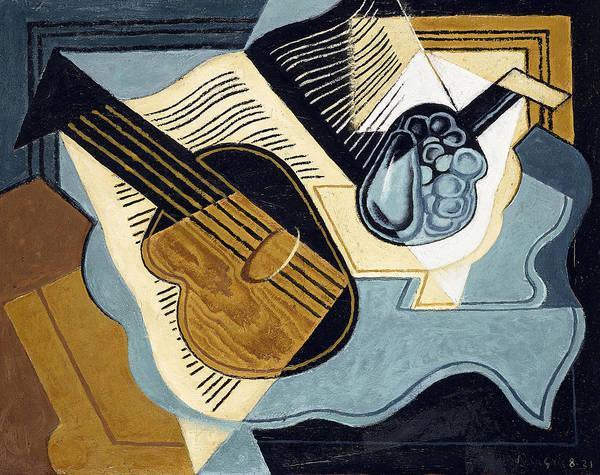 Spanish Guitar Wall Art - Painting - Guitar And Fruit Bowl by Juan Gris