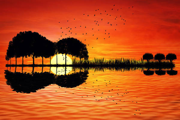 Music Instrument Digital Art - Guitar Island Sunset by Psycho Shadow