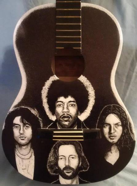 David Gilmour Painting - Guitar Legends by Rob Payne