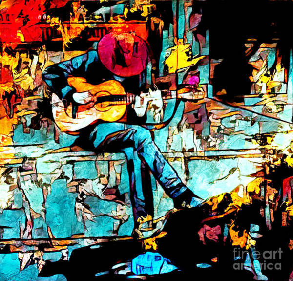 Mixed Media - Guitar Man  by Lita Kelley