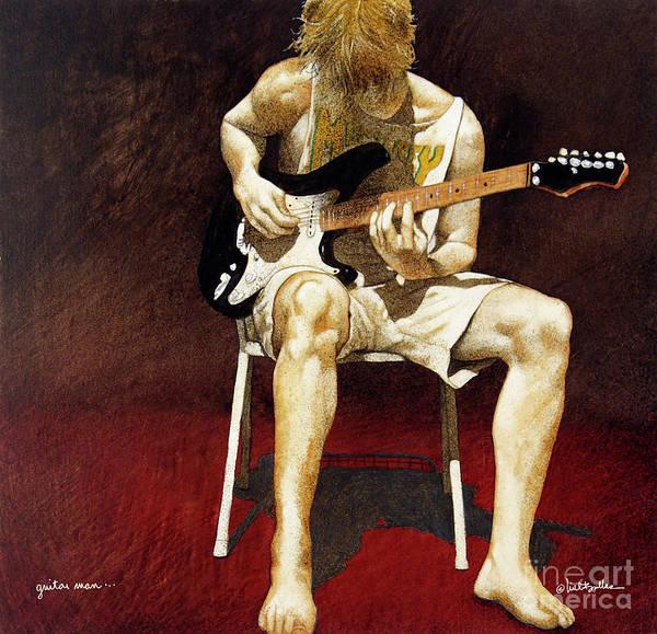 Guitars Painting - Guitar Man... by Will Bullas