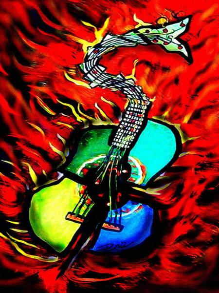 Flaming Sword Painting - Guitar Of Fury by Eric Druzinskie Drury