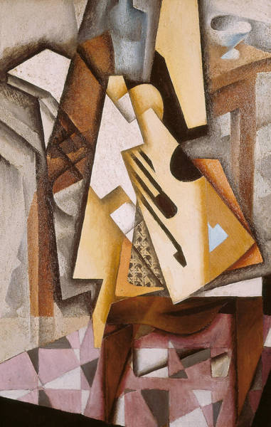 Spanish Guitar Wall Art - Painting - Guitar On A Chair by Juan Gris