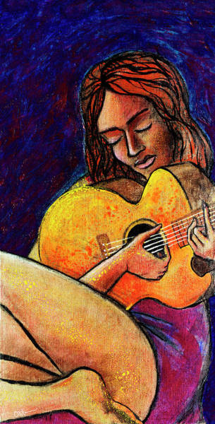 Wall Art - Painting - Woman In Song by Miko At The Love Art Shop
