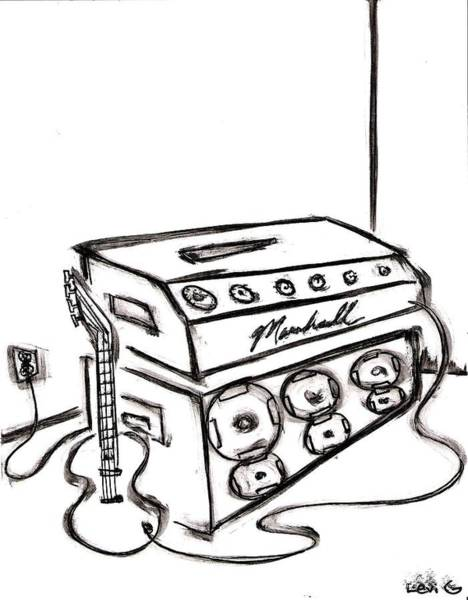 Electronica Drawing - Guitar With Amp by Levi Glassrock