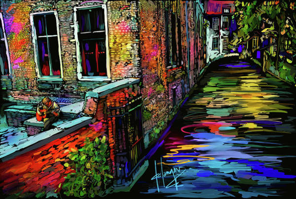 Painting - Guitarist In Amsterdam by DC Langer