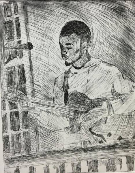 Art Print featuring the mixed media Guitarist by Rebecca Davidson