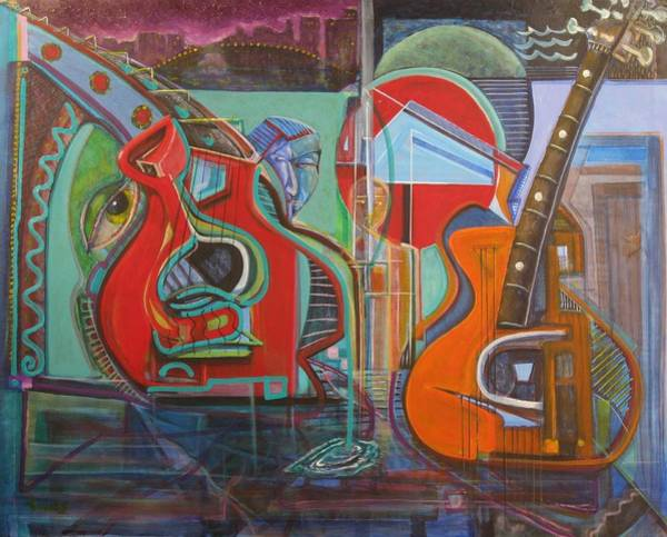 Painting - Guitars Mars And The Missing Human Stars by Dennis Tawes