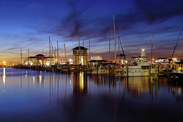 Photograph - Gulfport Harbor At Dusk - Lighthouse - Mississippi by Jason Politte