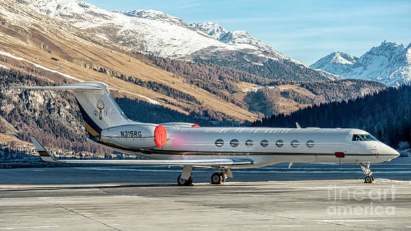 Wall Art - Photograph - Gulfstream G550  Parked At Samedan With Alps In Background by Roberto Chiartano