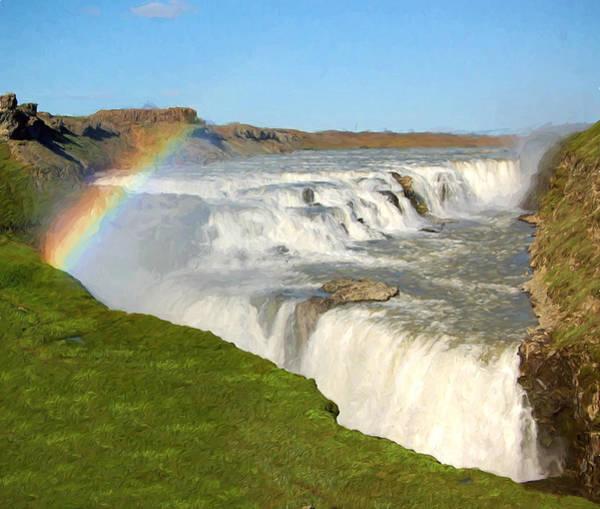Icelandic Digital Art - Gullfoss Rainbow by Roy Pedersen