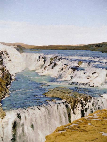 Icelandic Digital Art - Gullfoss Waterfalls 2 by Roy Pedersen