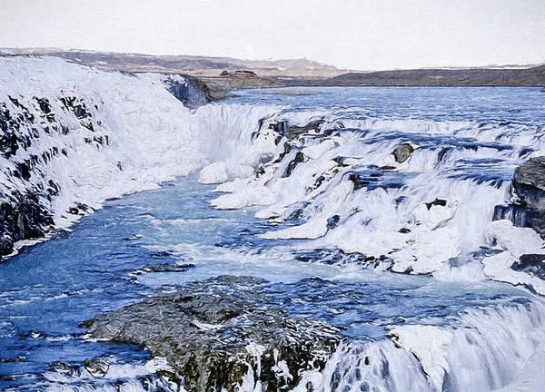 Icelandic Digital Art - Gullfoss Waterfalls 4 by Roy Pedersen