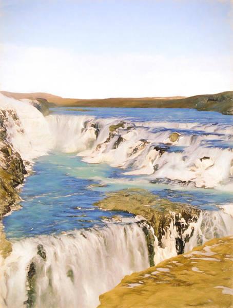 Icelandic Digital Art - Gullfoss Waterfalls Pastel 2 by Roy Pedersen