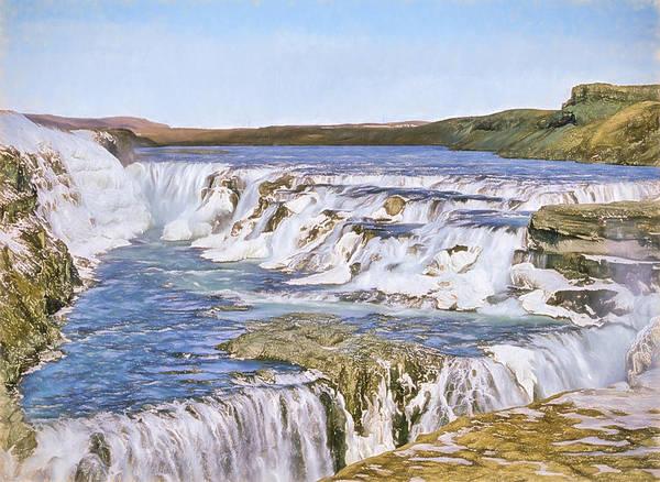 Icelandic Digital Art - Gullfoss Waterfalls Pastel 3 by Roy Pedersen