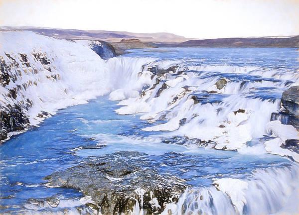 Icelandic Digital Art - Gullfoss Waterfalls Pastel 4 by Roy Pedersen