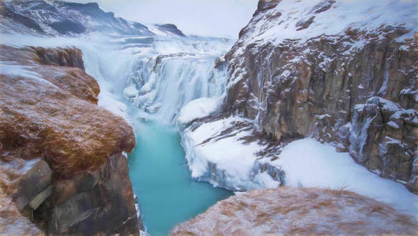 Icelandic Digital Art - Gullfoss Waterfalls Pastel 5 by Roy Pedersen