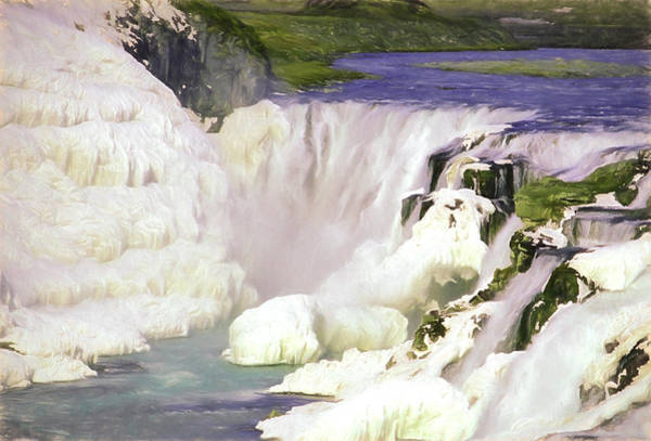 Icelandic Digital Art - Gullfoss Waterfalls Pastel by Roy Pedersen