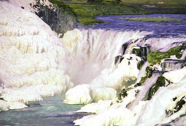 Icelandic Digital Art - Gullfoss Waterfalls by Roy Pedersen