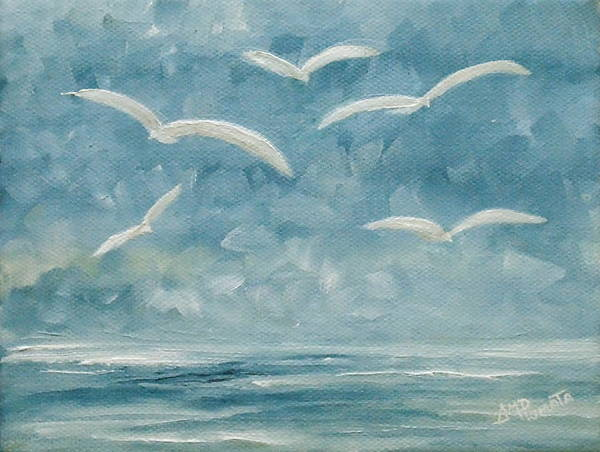Painting - Gulls In The Storm by Angeles M Pomata