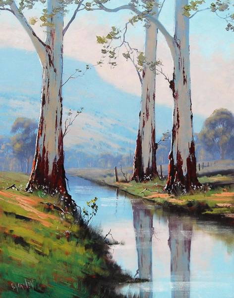 Old Tree Painting - Gum Reflections by Graham Gercken