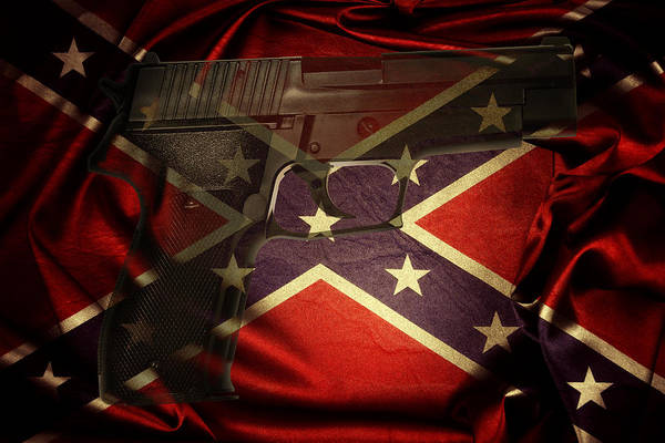 Wall Art - Photograph - Gun And Confederate Flag by Les Cunliffe