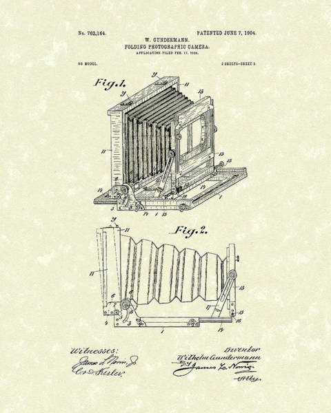 Drawing - Gundermann Photographic Camera 1904 Patent Art by Prior Art Design