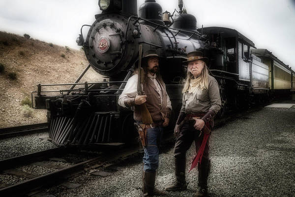 Gunfight Wall Art - Photograph - Gunfighters In Front Of Old Train by Garry Gay