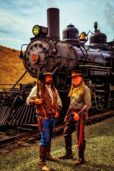 Gunfight Wall Art - Photograph - Gunfighters With Old Train by Garry Gay