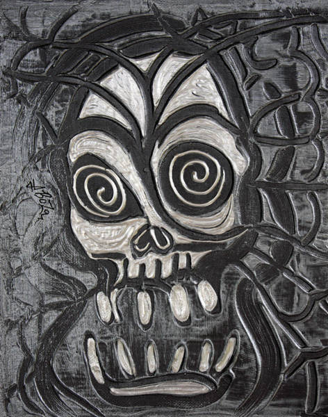 Wall Art - Painting - Gunmetal Skull by Laura Barbosa