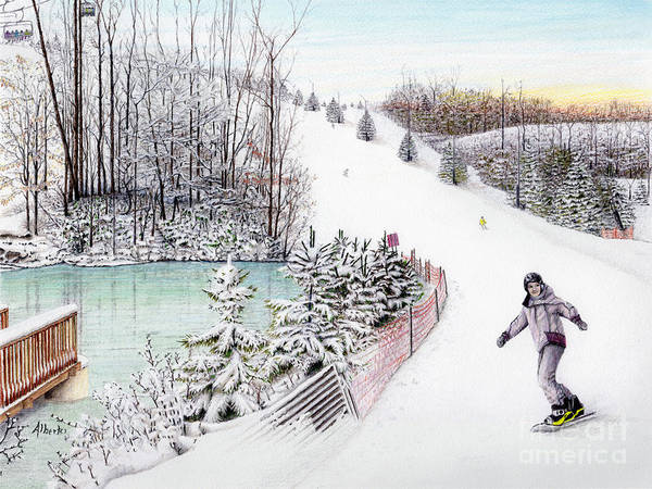 Snowscape Painting - Gunnar Slope And The Ducky Pond by Albert Puskaric