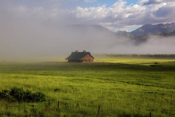 Wall Art - Photograph - Gunnison Valley Barn In Lifting Fog by Bridget Calip