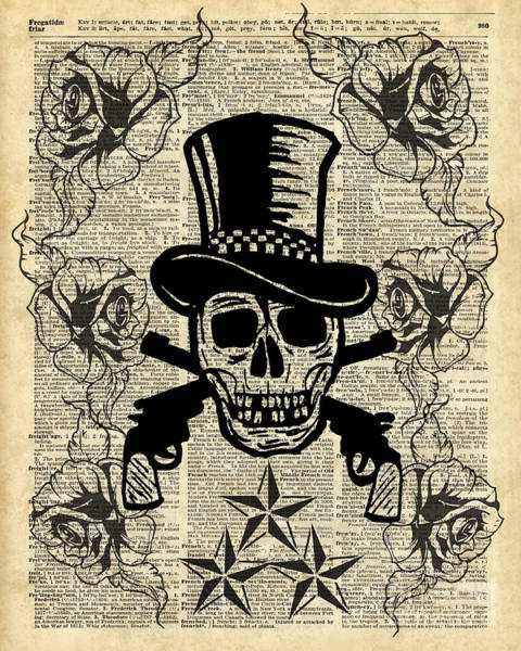 Wall Art - Painting - Gunslinger,happy Skull,guns'n Roses,rockstar Vintage Decoration Card,craft Supplies,dictionary Art, by Anna W
