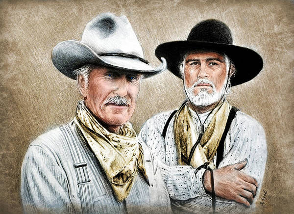 Gus Wall Art - Painting - Gus And Woodrow Colour Ver by Andrew Read