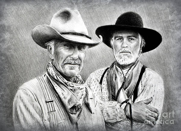 Scarf Drawing - Gus And Woodrow Edit 2 by Andrew Read