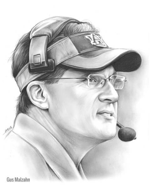 Football Drawing - Gus Malzahn by Greg Joens