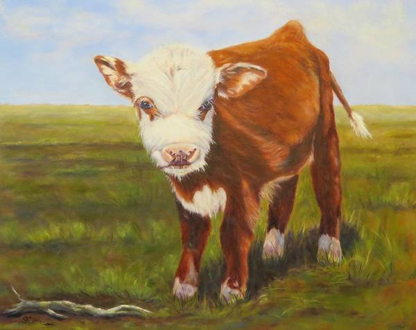 Calf Painting - Gus, Cow by Sandra Reeves