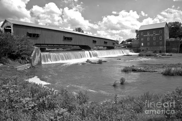 Photograph - Gushing Falls Under The Bridgeton Covered Bridge Black And White by Adam Jewell