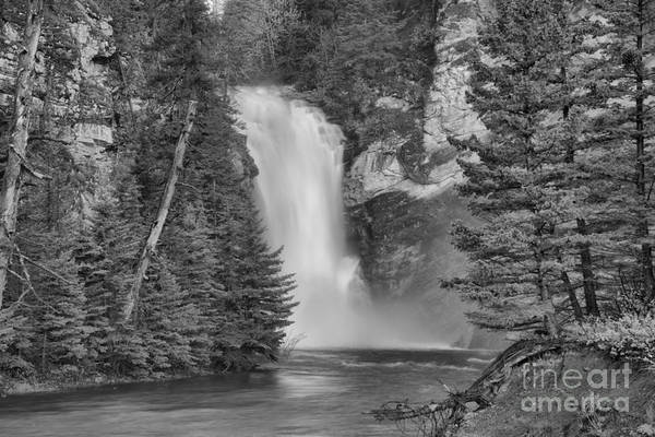 Photograph - Gushing In The Spring At Trick Falls Black And White by Adam Jewell