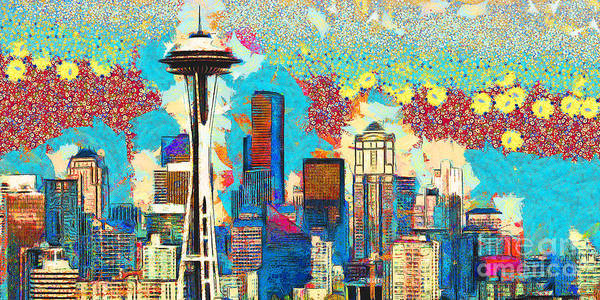 Photograph - Gustav Klimt Does The Seattle Space Needle Skyline 20180511 Panorama by Wingsdomain Art and Photography