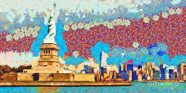 Photograph - Gustav Klimt Does The Statue Of Liberty And The New York Skyline 20180511 Panorama by Wingsdomain Art and Photography