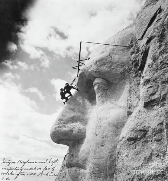 Rushmore Photograph - Gutzon Borglum Inspecting Work On Washington At Mount Rushmore by American School