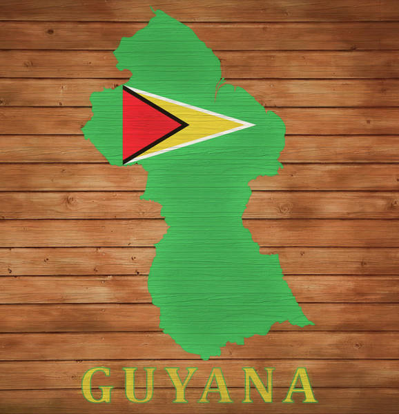 Traveler Mixed Media - Guyana Rustic Map On Wood by Dan Sproul