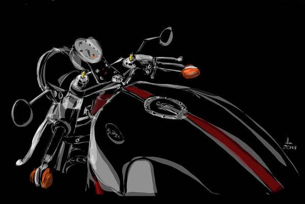Hot Rod Drawing - Guzzi by Jeremy Lacy