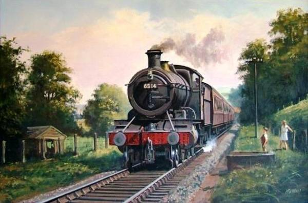 Wall Art - Painting - Gwr 2-6-0 On A Local Passenger Train. by Mike Jeffries