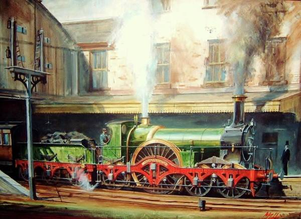 Trains Painting - Gwr Broad Gauge Single. by Mike Jeffries